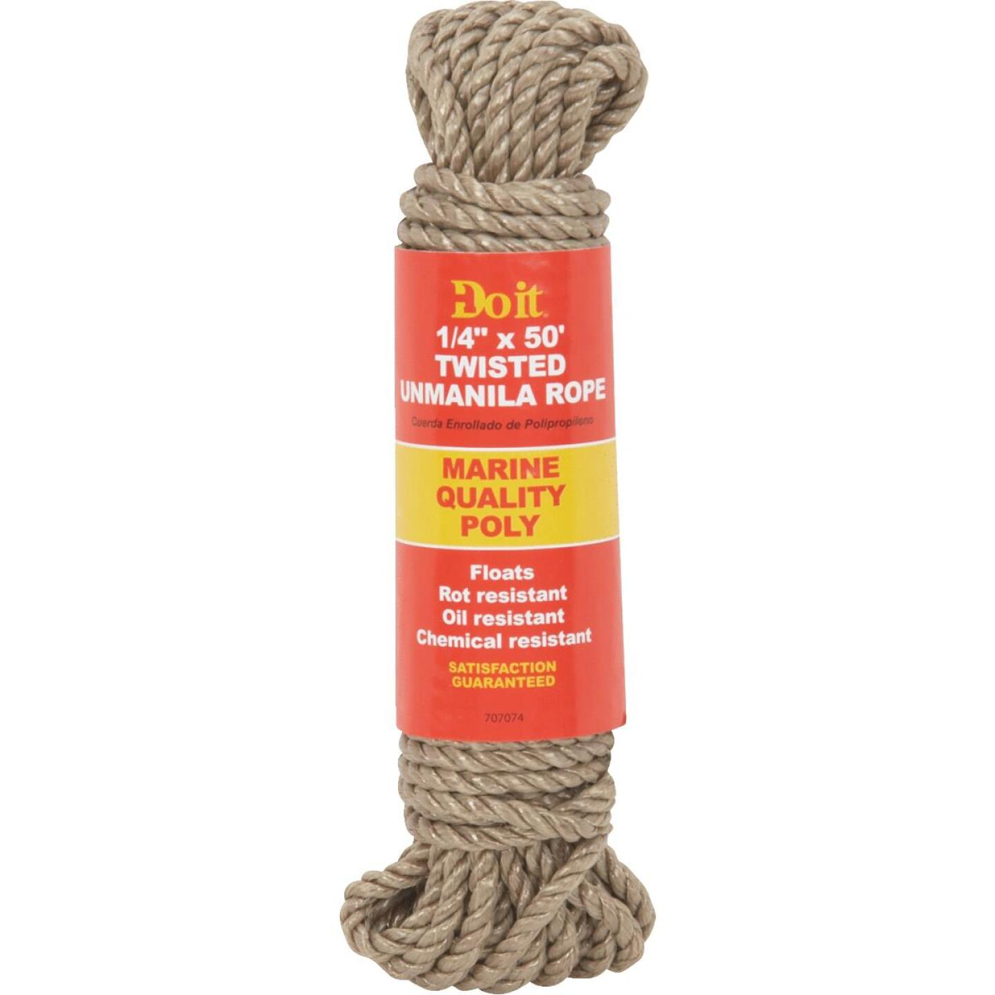 Do it 1/4 In. x 50 Ft. Natural Twisted Unmanila Polypropylene Packaged Rope Image 1
