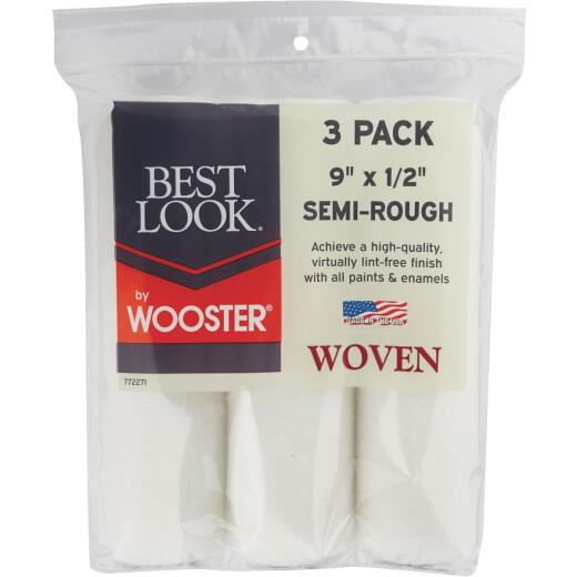Best Look By Wooster 9 In. x 1/2 In. Premium Woven Fabric Roller Cover (3-Pack)